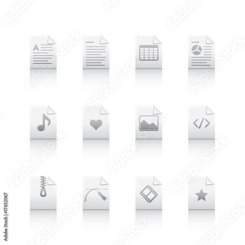 Icon Set - Document Files in Gray