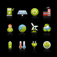 Icon Set in Black - Environmental Conservation