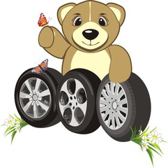 Bruin with wheels of cars. Abstract composition. Vector