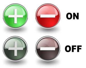 Set di pulsanti +/- in versione ON e OFF