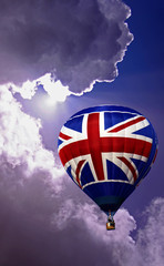 Union Jack hot air balloon in a blue cloudy sky