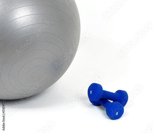 Fitness ball and dumb bells