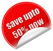 Save upto 50% sticker