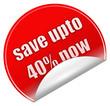 Save upto 40% sticker