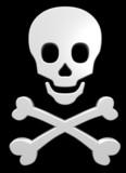 White skull and crossbones on the black background. poster