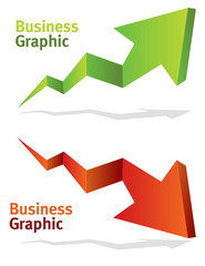 vector green and red chart arrows