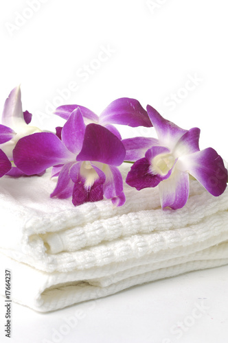 Beauty orchid and towel