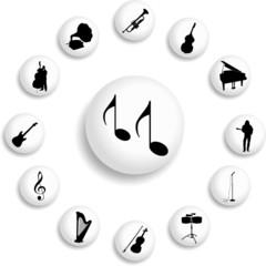Set buttons. Music
