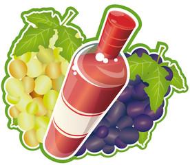 Bouteille dynamique de vin rosé avec des grappes de raisins
