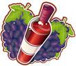 Bouteille dynamique de vin rouge avec des grappes de raisins