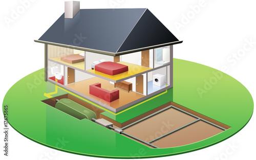 habitation et sa fosse septique d tour fichier vectoriel libre de droits sur la banque d. Black Bedroom Furniture Sets. Home Design Ideas