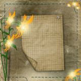 sheet advertising with flowers on the shabby background poster