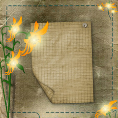 sheet advertising with flowers on the shabby background