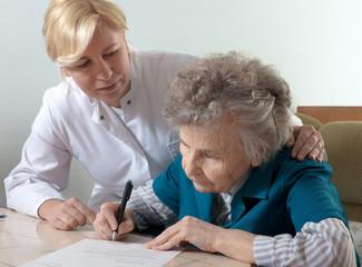 Assisting a senior woman
