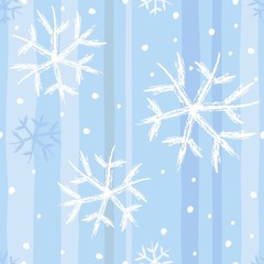 Seamless christmas pattern with curve snowflakes
