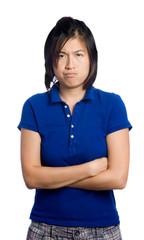 Asian girl is upset