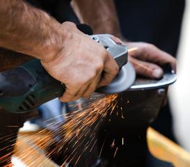 Blacksmith making horseshoes