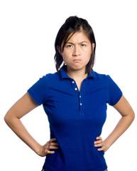 Asian girl is upset.