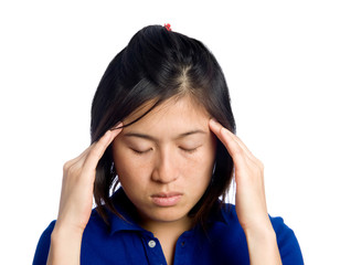 Asian girl has headache