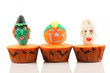 Spooks cup cakes on white background