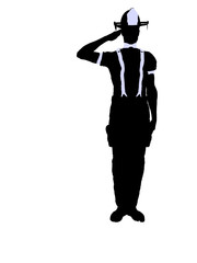 Male Firefighter Illustration Silhouette
