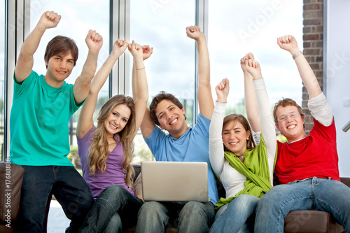 Exited group of friends