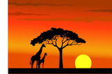 Sunset of wildlife Africa poster