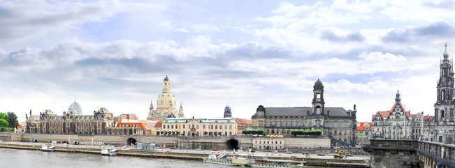 View from Elbe bridge on Dresden. Germany.
