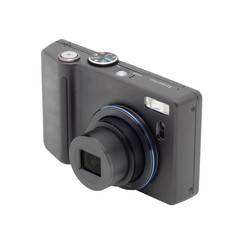 Black compact digital camera.
