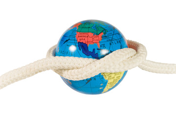 Globe with a rope (isolated on white)