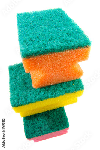 three colorful sponges.