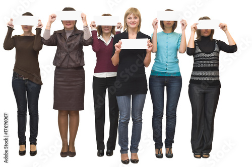 Six beautiful models a women on white background in studio.