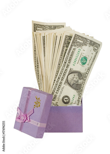 Bunch of one-dollar bills in a gift box (isolated on white)
