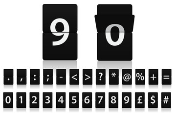 Information Board Style Flip Down Letters - Numeric