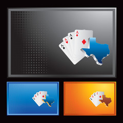 Texas hold em on multicolored halftone banners