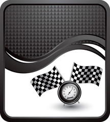 Racing flags and speedometer on black checkered wave ad