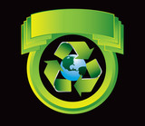 Recycle planet in greed crest poster