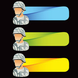 Military soldier on multicolored templates