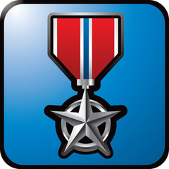 Military medal on blue web button