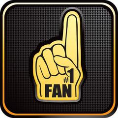 Foam fan hand on black checkered web button