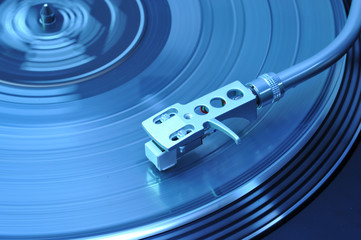 turntable in blue discolight