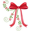 Red satin christmas bow