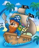 Cartoon pirate sailing on ship