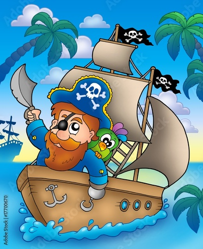Deurstickers Piraten Cartoon pirate sailing on ship