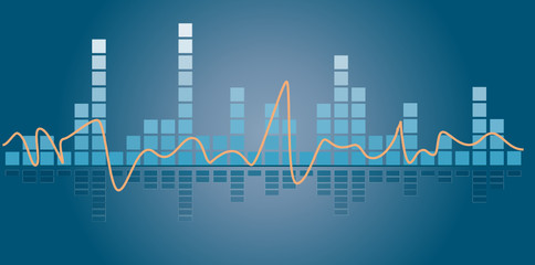 Music equalizer illustration on blue background with reflection