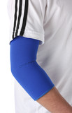 Man wearing an elbow brace over white poster
