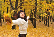 The girl in an autumn forest