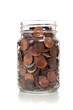 Glass jar full of coins