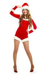 happy girl dressed as Santa