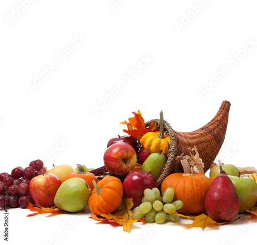 Fall cornucopia on a White back ground
